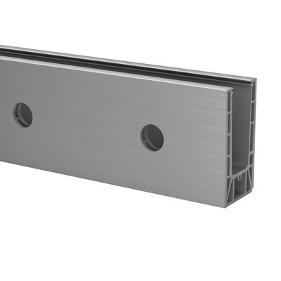 Q-Railing - Easy Glass Prime, base shoe, fascia mount,L=2500 mm, brushed aluminium, anodized 25 micrometre