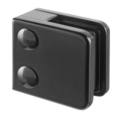 Q-Railing - Glass clamp, MOD 21, excl. rubber inlay, flat, zamak, black RAL 9005 [PK4]- [10210000031]