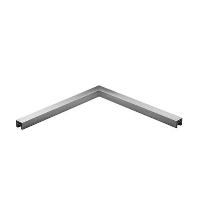 Q-Railing - Angled tube, 90 degree, horizontal, for cap rail, 40x40x1.5 mm, L=500x500 mm, alu, st. steel eff. IX