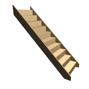 Flat Pack - Timber Staircase Straight Flight - 10 Riser Step (FFL 2000cm) Closed String