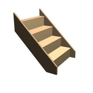 Flat Pack - Timber Staircase Straight Flight - 4 Riser Step (FFL 800cm) Closed String