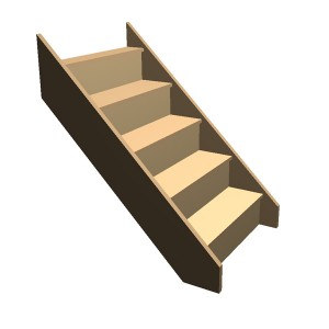 Flat Pack - Timber Staircase Straight Flight - 5 Riser Step (FFL 1000cm) Closed String