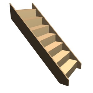 Flat Pack - Timber Staircase Straight Flight - 7 Riser Step (FFL 1400cm) Closed String