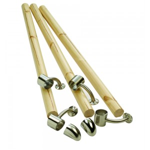 Richard Burbidge KIT01 Fusion Boxed Handrail Kit - Pine With Brushed Nickel Connectors - Kit01