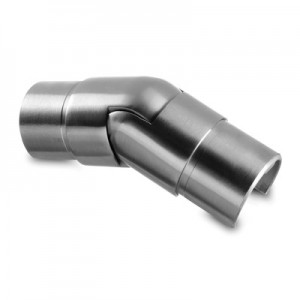 Q-Railing - Adjustable flush angle, (25 degree-55 degree), downwards, cap rail, Dia 60.3x1.5 mm, stainless steel 304 interior, satin [PK2]