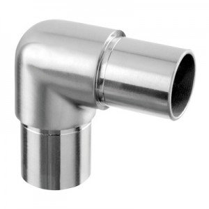 Q-Railing - Flush elbow, 90 degree, rounded, tube Dia 48.3 mm x 2 mm, stainless steel 304 interior, satin [PK2]