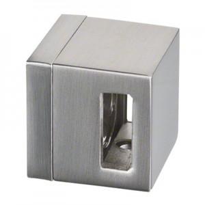 Q-Railing - Crossbar holder, Square Line, bar 15 x 5 mm, flat, zamak, stainless steel effect [PK4]