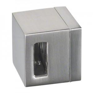 Q-Railing - Crossbar holder, Square Line, blind hole, left, bar 15 x 5 mm, flat, zamak, stainless steel effect [PK4]