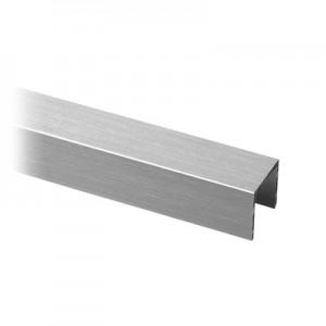 Q-Railing - U-profile, 17.25 x 15 x 2 mm, for 12.76 mm glass, L=2500 mm, aluminium, st. steel effect, anodized