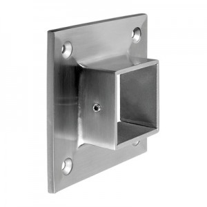Q-Railing - Wall flange, Square Line, tube 40x40 mm, stainless steel 304 interior, satin [PK2]