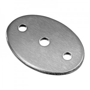 Q-Railing - Plate, with 2 holes, oval, 85 mm x 60 mm x 5 mm, bar Dia 10 mm, stainless steel 304 interior, satin [PK4]