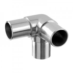 Q-Railing - Flush elbow, 90 degree, + 1 outlet 90 degree, tube Dia 48.3 mm x 2 mm, stainless steel 304 interior, satin [PK2]