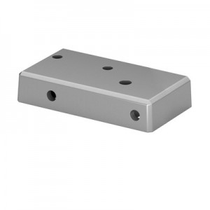 Q-Railing - Base flange for post profile, Easy Alu,right, brushed aluminium, anodized 25 micrometre