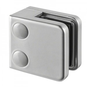 Q-Railing - Glass clamp, MOD 21, excl. rubber inlay, flat, zamak, aluminium RAL 9006 [PK4]- [10210000036]