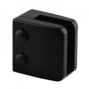 Q-Railing - Glass clamp, MOD 26, excl. rubber inlay, flat, zamak, black RAL 9005 [PK4]- [10260000031]