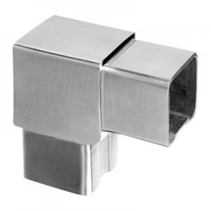 Q-Railing - Flush elbow, Square Line, 90 degree, tube 40x40x2 mm, stainless steel 304 interior, satin [PK2]