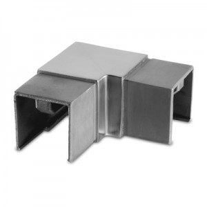 Q-Railing - Flush elbow, 90 degree, horizontal, square, cap rail, 40x40x1.5 mm, stainless steel 304 interior, satin [PK2]