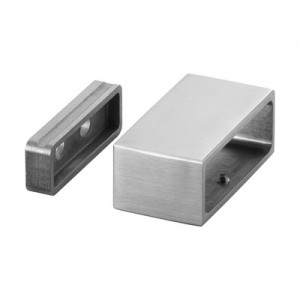Q-Railing - Wall flange, Square Line, tube 60x20 mm, stainless steel 316 exterior, satin [PK2]
