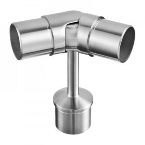 Q-Railing - Handrail bracket, tube Dia 42.4 x 2 mm, with joint, handrail Dia 42.4 mm x 2 mm, stainl. steel 304 interior, satin [PK2]