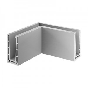 Q-Railing - Base shoe corner, Easy Glass Pro, top mount, inner corner, aluminium, st. steel eff. IX, anod.
