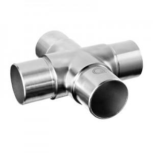 Q-Railing - Cross connector, tube Dia 42.4 mm x 2 mm, stainless steel 304 interior, satin [PK2]- [13030924212]