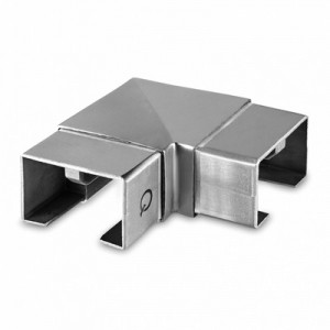 Q-Railing - Flush elbow, 90 degree, horizontal, rectangular, cap rail, 60x40x1.5 mm, stainless steel 304 interior, satin [PK2]