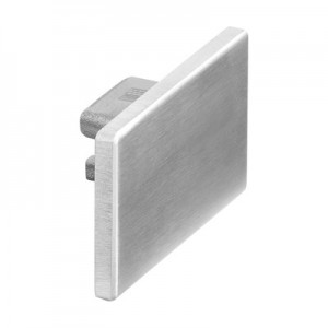 Q-Railing - Flat end cap for cap rail, Easy Hit, 65x40x1.5 mm, aluminium, matt silver effect, anod. [PK2]