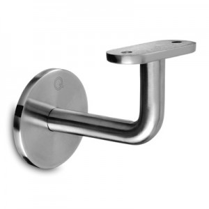 Q-Railing - Handrail bracket for wall mounting, M8 thread, handrail flat, stainless steel 304 interior, satin [PK2]