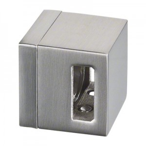 Q-Railing - Connecting crossbar holder, Square Line, bar 15 x 5 mm, flat, zamak, stainless steel effect [PK4]- [10482100020]