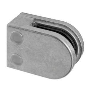 Q-Railing - Glass clamp, MOD 22, excl. rubber inlay, flat, zamak, aluminium RAL 9006 [PK4]
