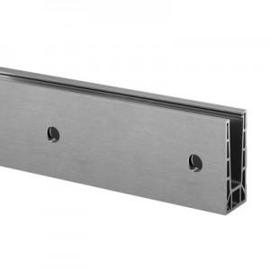 Q-Railing - Easy Glass Pro Inverse, base shoe, fascia mount, L=5000 mm, aluminium, st. steel effect, anod. 25 micrometre