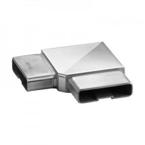 Q-Railing - Flush elbow, Square Line, 90 degree, tube 60x20x2 mm, stainless steel 316 exterior, satin [PK2]