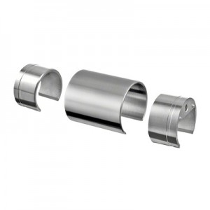 Q-Railing - Connector, incl. 2 adapter, wooden cap rail Dia 42 mm, stainless steel 304 interior, satin [PK2]- [20679004212]