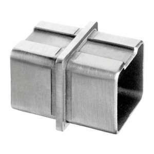 Q-Railing - Tube connector, Square Line, tube 40x40x2 mm, stainless steel 304 interior, satin [PK2]