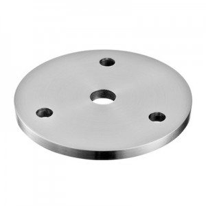 Q-Railing - Plate, with 3 holes, flat, Dia 70 mm x 5 mm, bar Dia 10 mm, stainless steel 304 interior, satin [PK4]