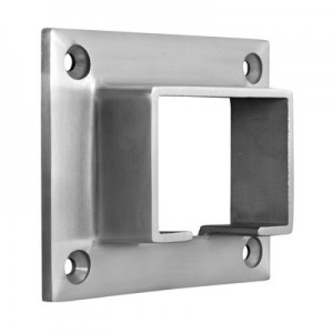 Q-Railing - Wall flange for cap rail, rectangular, 60x40 mm, stainless steel 304 interior, satin [PK2]