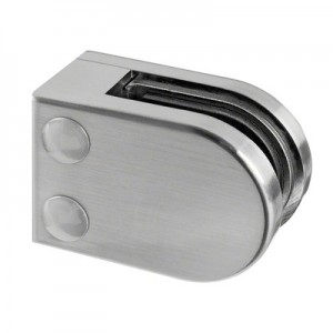 Q-Railing - Glass clamp, MOD 22, excl. rubber inlay, flat, zamak, stainless steel effect [PK4]