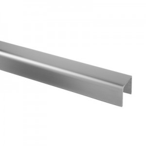 Q-Railing - U-profile, 30 x 27 x 3 mm, U=24 mm x 24 mm, L=5000 mm, stainless steel 316 exterior, satin