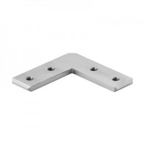 Q-Railing - Flush elbow, 90 degree, horizontal, cap rail, 33x39x4.5 mm, aluminium, raw [PK2]