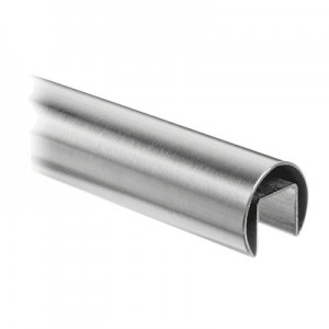Q-Railing - Cap rail, Dia 48.3 mm x 1.5 mm, L=2500 mm, U=27 mm x 30 mm, stainless steel 304 interior, satin - [13692504812]