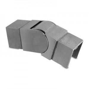Q-Railing - Adjustable flush angle, (25 degree-55 degree), downwards, cap rail, 40x40x1.5 mm, stainless steel 304 interior, satin [PK2]