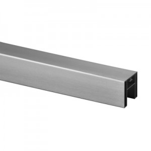 Q-Railing - Cap rail, square, 40x40x1.5 mm, L=5000 mm, U=24 mm x 24 mm, aluminium, stainless steel effect