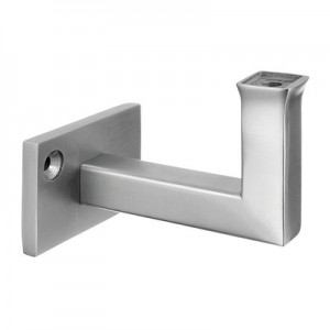 Q-Railing - Handrail bracket, Square Line, for wall mounting, handrail flat, stainless steel 304 interior, satin [PK2]