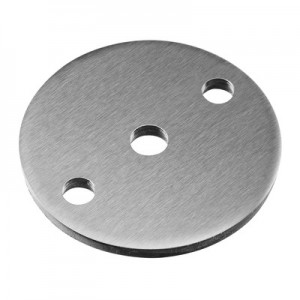 Q-Railing - Plate, with 2 holes, flat, Dia 70 mm x 5 mm, bar Dia 10 mm, stainless steel 304 interior, satin [PK8]
