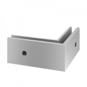 Q-Railing - Base shoe corner, Easy Glass Pro, fascia mount, outer corner, aluminium, st. steel effect, anod.