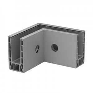 Q-Railing - Base shoe corner, Easy Glass Prime, fascia mount,inner corner, aluminium, mill finish