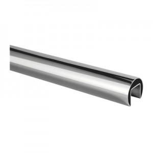 Q-Railing - Cap rail, Dia 42.4 mm x 1.5 mm, L=5000 mm, U=24 mm x 24 mm, stainless steel 304 interior, polished