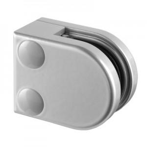 Q-Railing - Glass clamp, MOD 20, excl. rubber inlay, flat, zamak, aluminium RAL 9006 [PK4]- [10200000036]