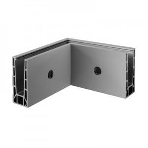 Q-Railing - Base shoe corner, EG Pro Inverse, fascia mount, inner corner, aluminium, st. steel effect, anod.