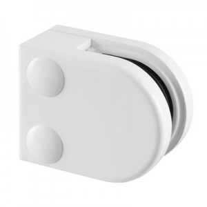 Q-Railing - Glass clamp, MOD 20, excl. rubber inlay, flat, zamak, white RAL 9016 [PK4]- [10200000032]